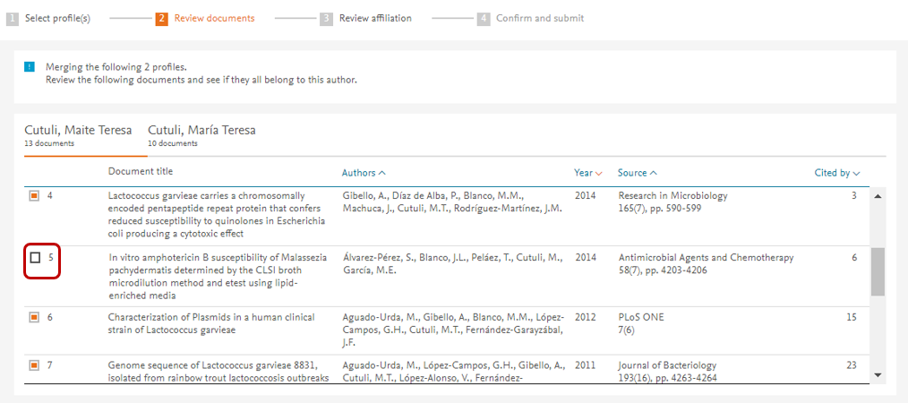 Revisar documentos en el perfill de autor en Scopus