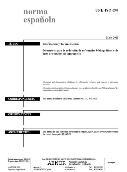 Portada de la Norma UNE-ISO 690