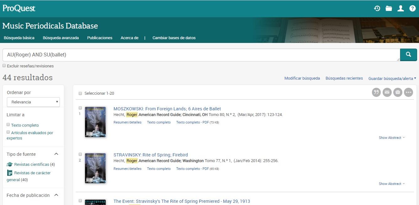 Página de resultados de la búsqueda por campo de materia