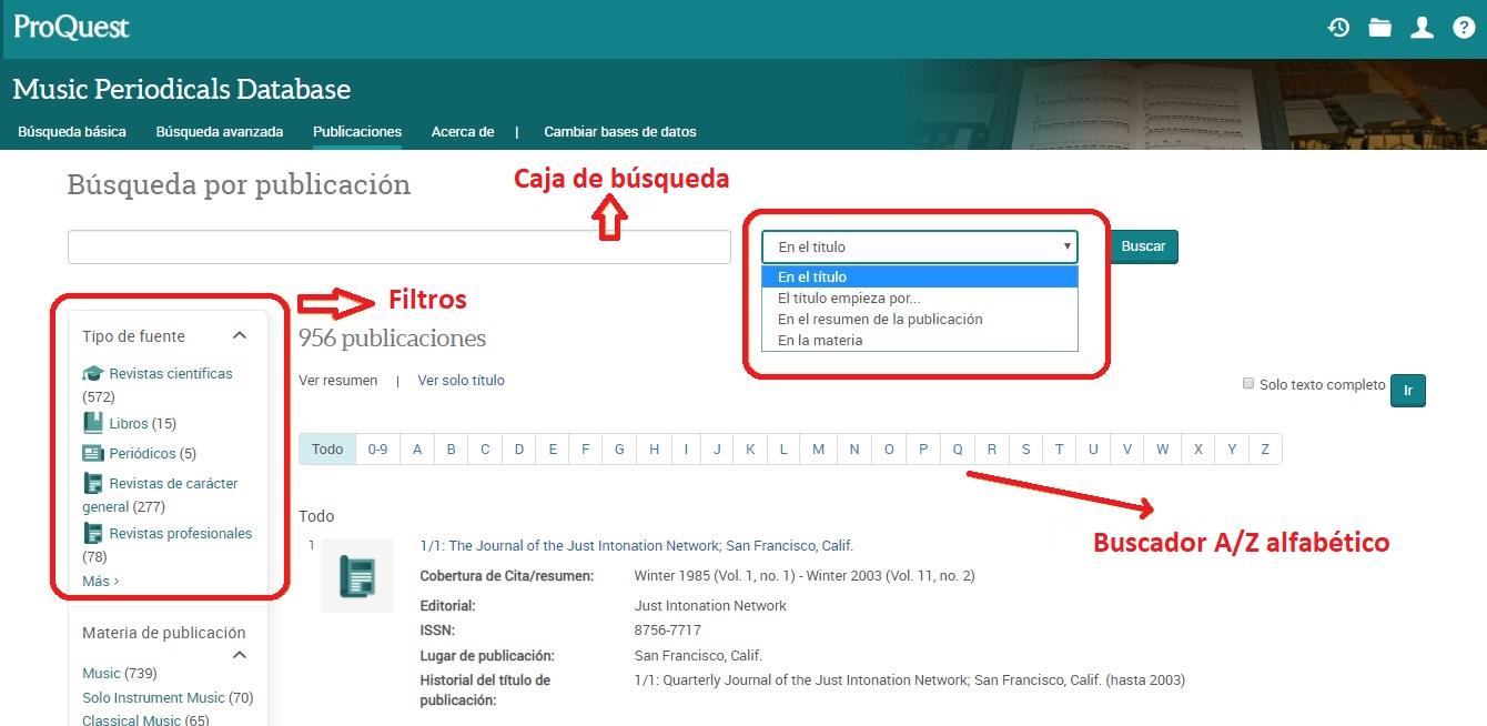 Pantalla de búsqueda por publicación: caja de búsqueda, filtros y buscador A-Z