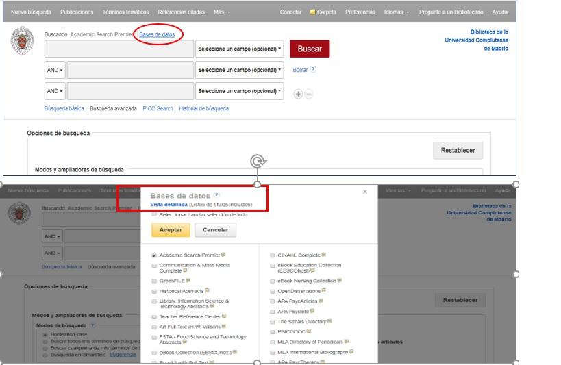 Selección de Base de datos en el menú superior y pantalla de opciones