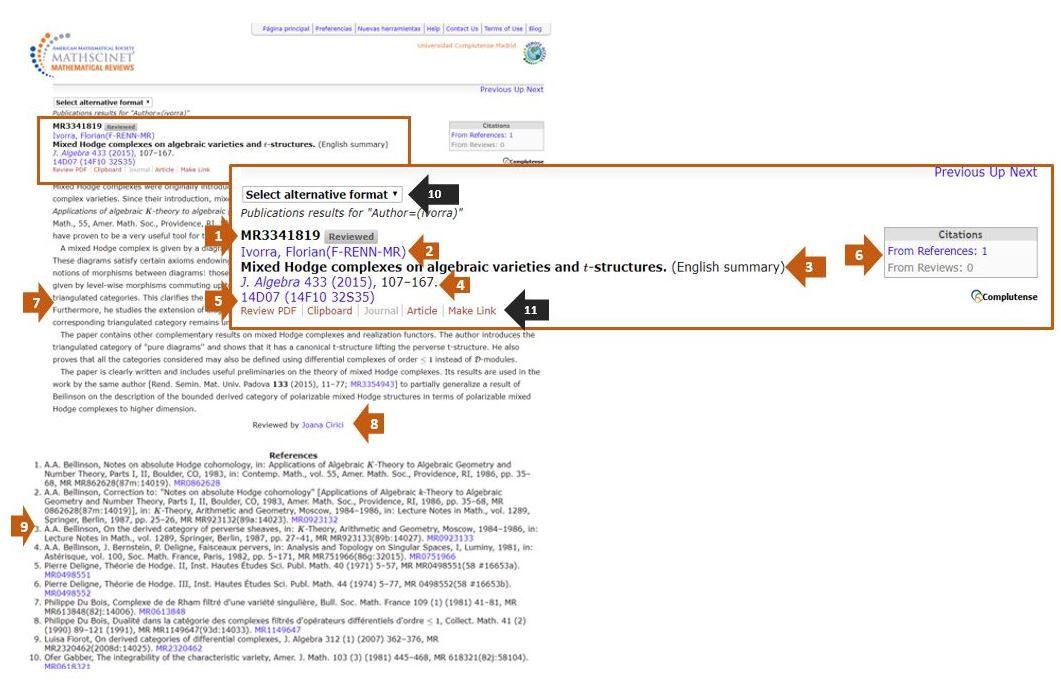 Página de resultados por publicaciones en MR