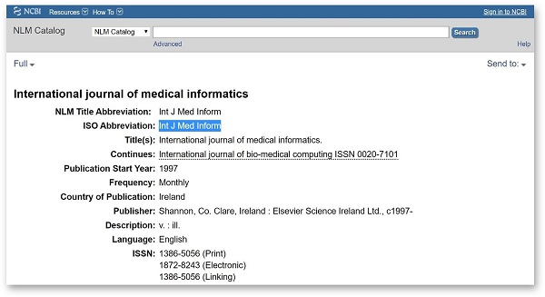 Título abreviado en Pubmed Journal Database