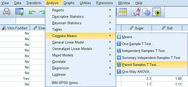Paired Samples menu path in SPSS
