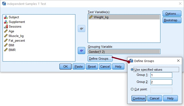 Student T-test dialogue box in SPSS