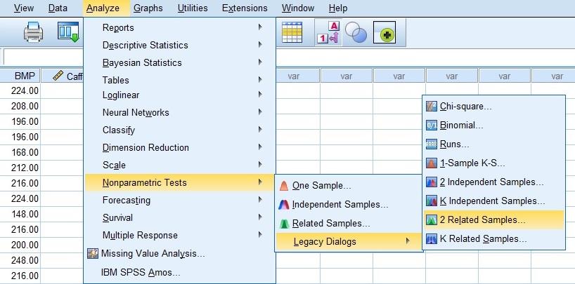 Wilcoxon Sign Test menu path is SPSS