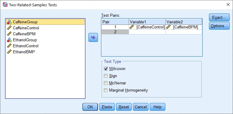 Dialogue box for Wilcoxon Sign test in SPSS