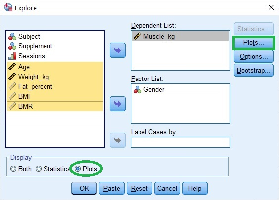 Explore dialogue box in SPSS