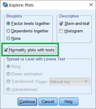 Explore: Plots dialogue box in SPSS