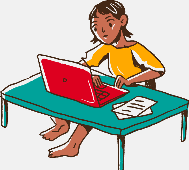 Female student working on laptop