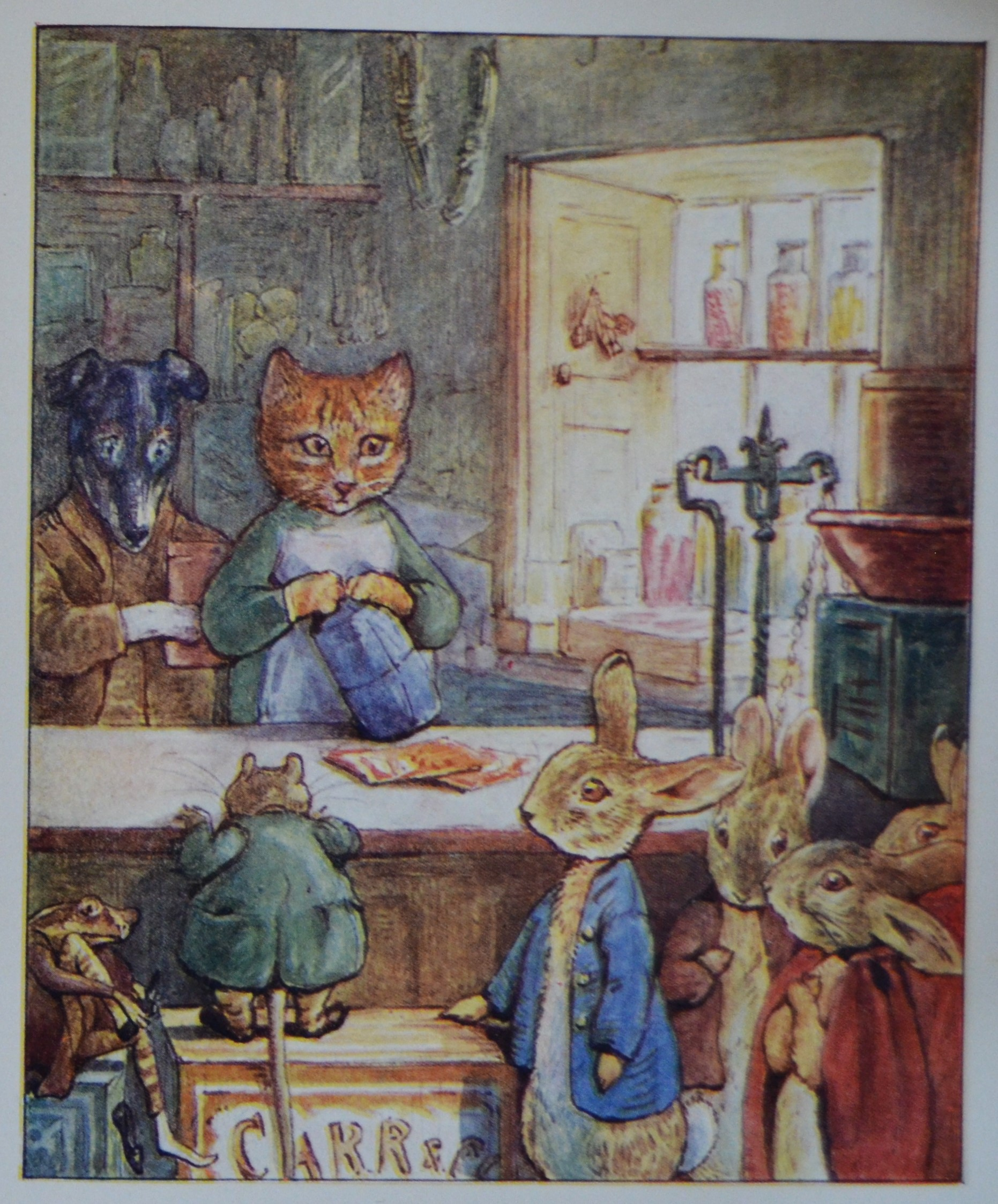 Illustration from 'Ginger & Pickles' showing the animal characters in their shop.