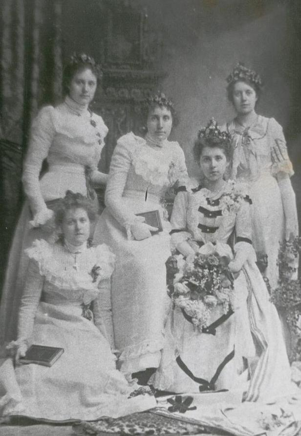 Photograph from Whitelands Archive: May Queen Eveline and attendants,1900