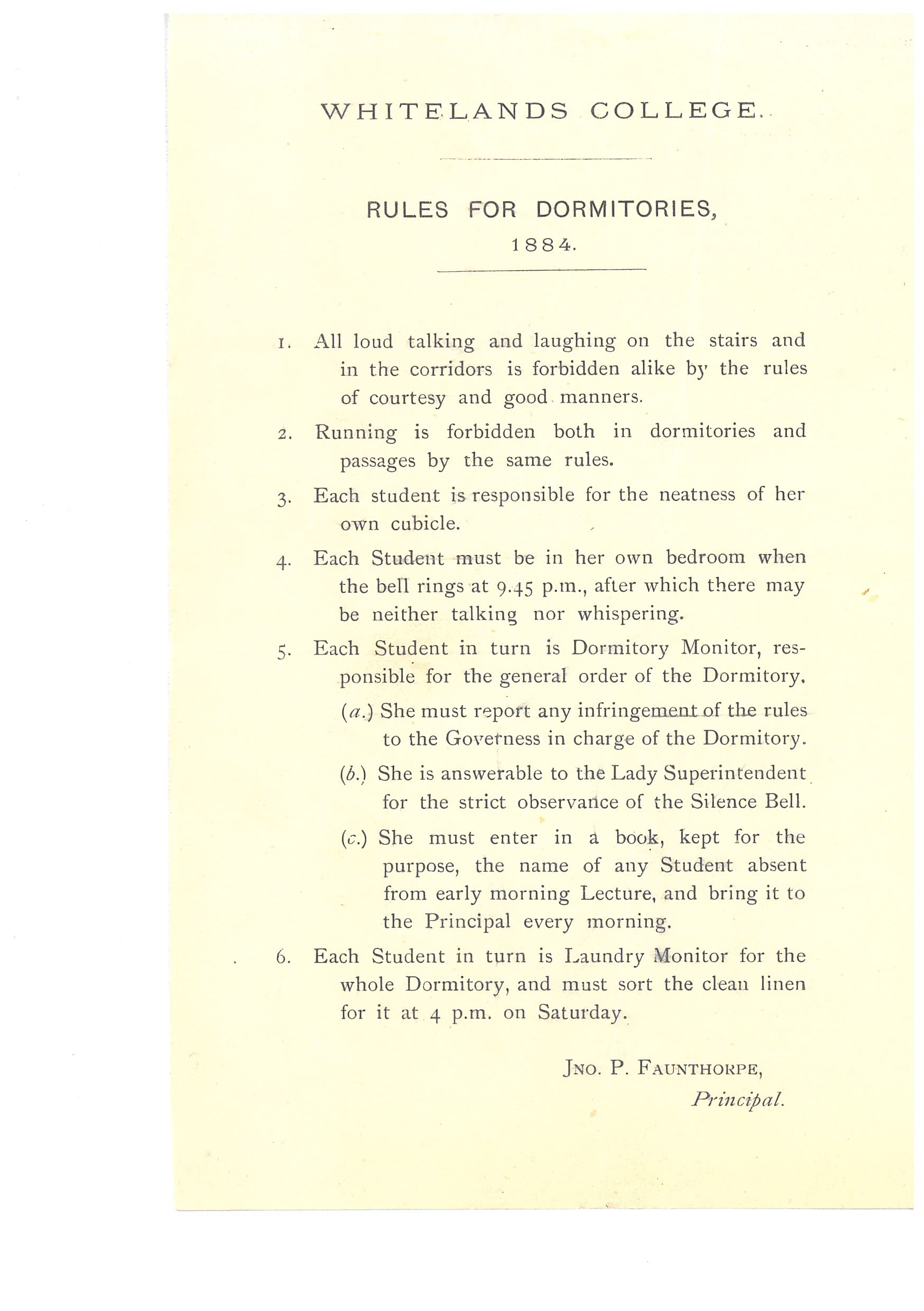 Document from Whitelands Archive: Whitelands Dormitory rules 1884
