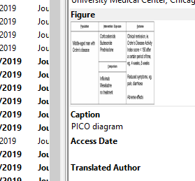 EndNote reference close up of Figure and Caption fields