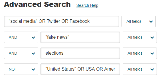 "Advanced Search in JSTOR for ""social media"" OR Twitter OR Facebook AND ""fake news"" AND elections NOT ""United States"" OR USA OR America*"