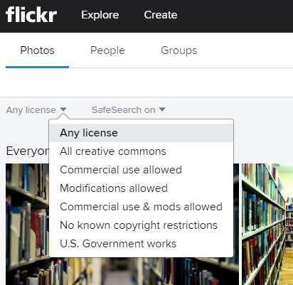 Flickr license options screenshot