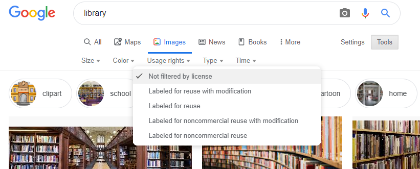 Google image license filters screenshot