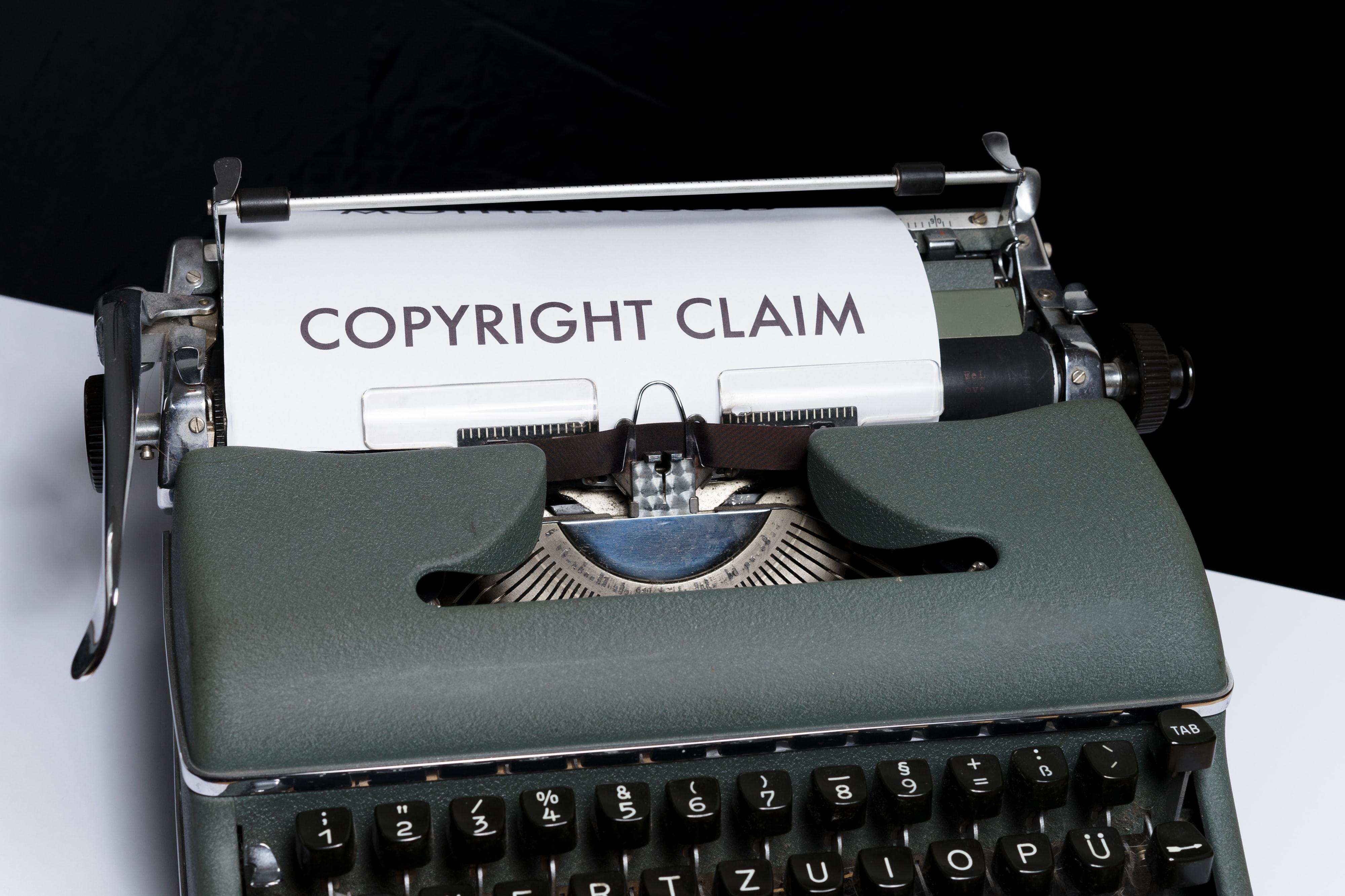 Copyright Claim typed on typewriter Image