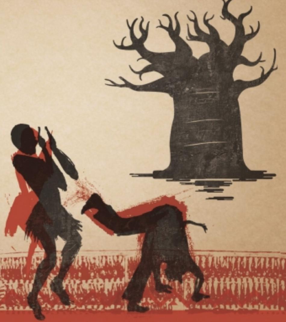Artwork depicting two capoeira dancers