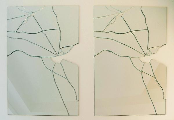 Image of Macchi's artwork, broken glass