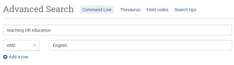 Bild som visar ett sökformulär i en databas där sökorden kombineras med OR och AND.