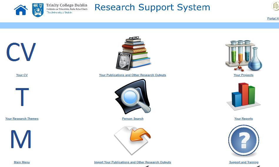 Screenshot of the RSS homepage
