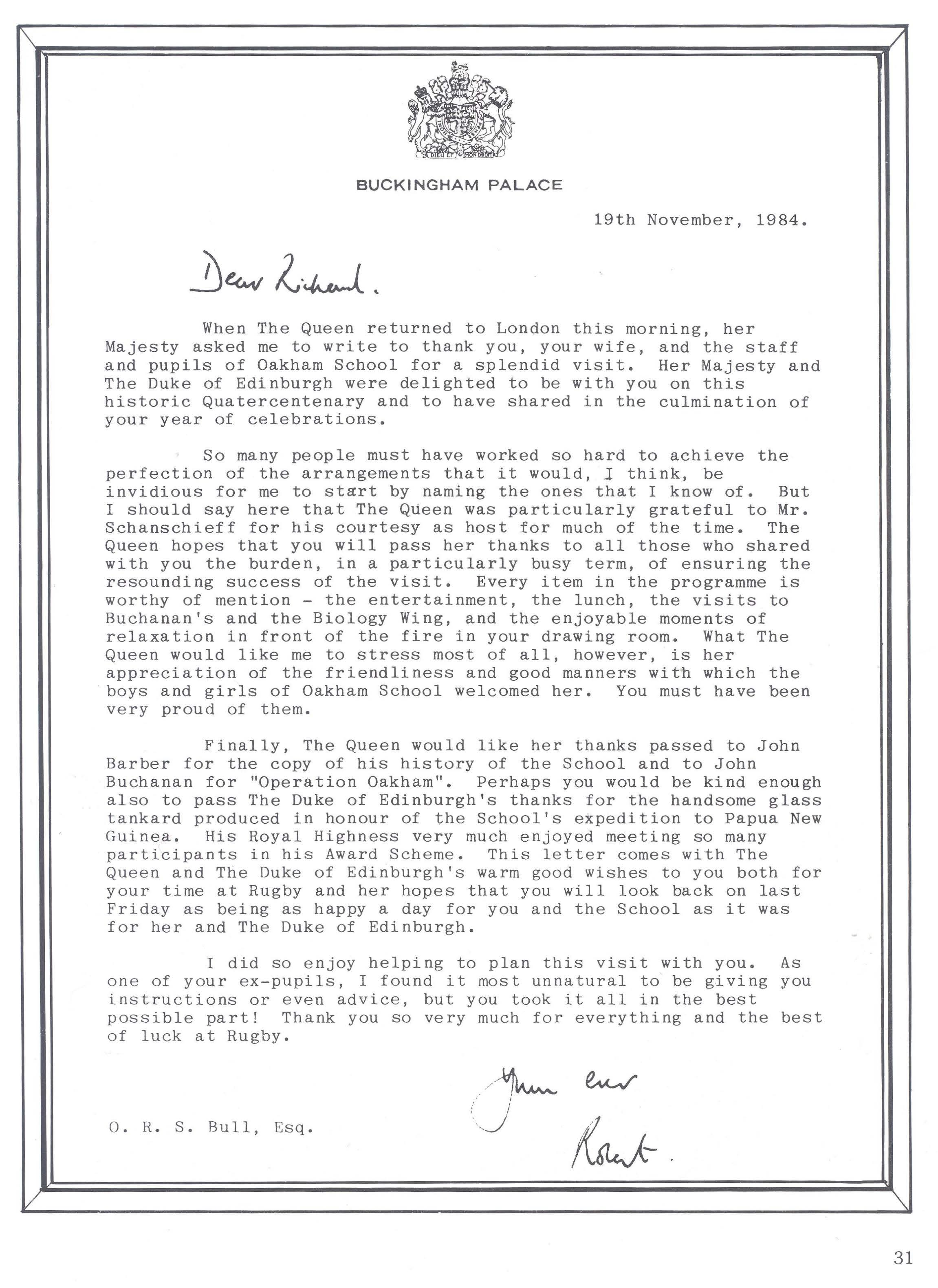 1984 Thank you letter