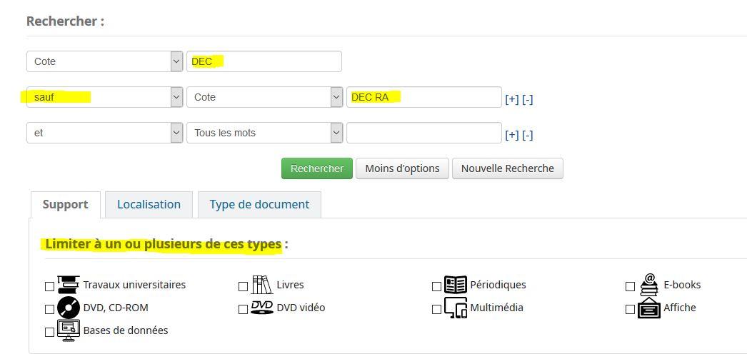 capture écran recherche catalogue