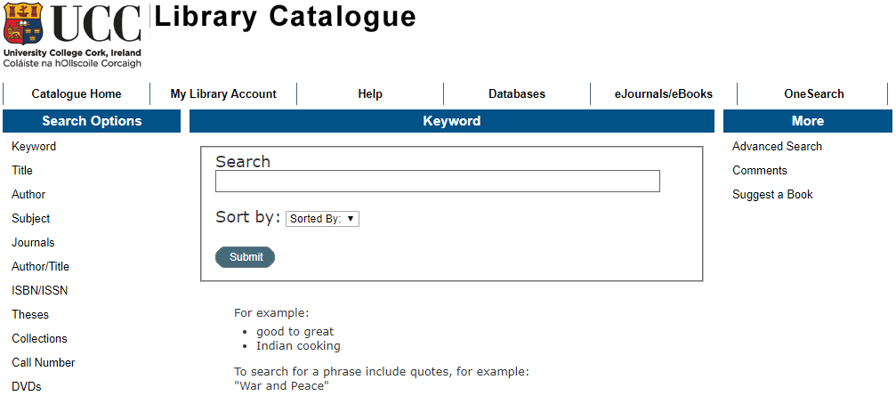 Screenshot of Library Catalogue homepage