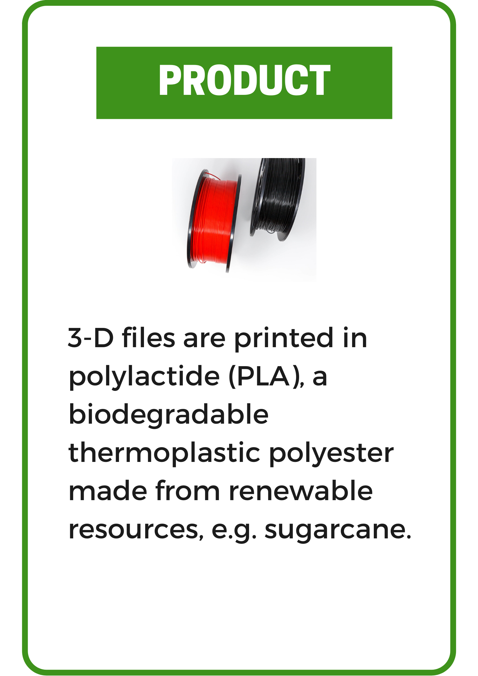3-D Printing Service: 3-D files are printed in polylactide (PLA)