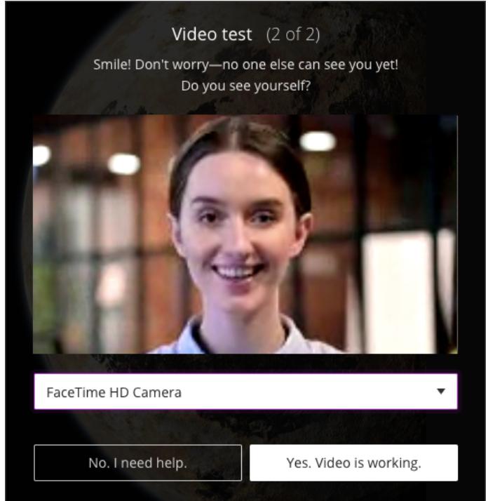 iOS / MAC Camera settings for Collaborate Ultra Meetings example