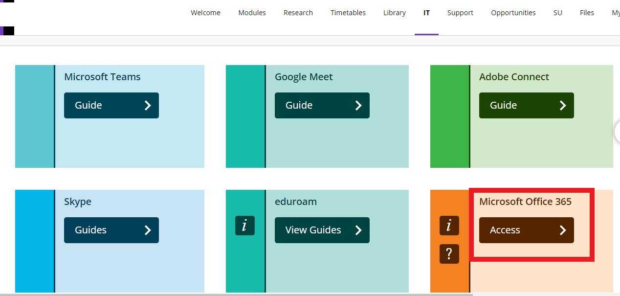 Access Microsoft Office 365 via MyBeckett IT tab