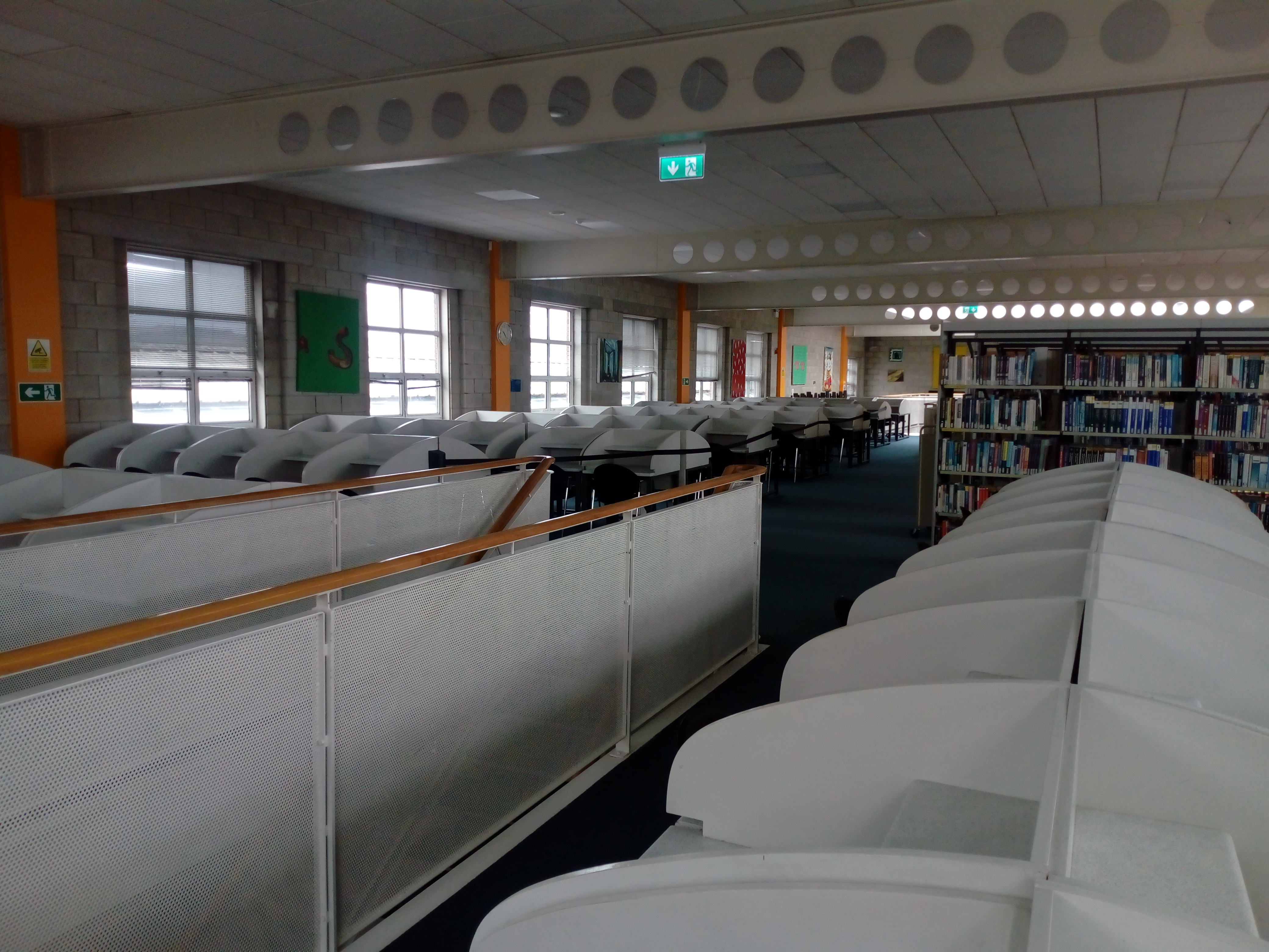 The library upper floor with every seat empty