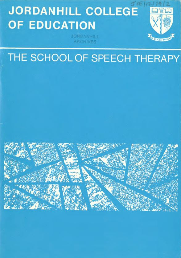 Front page of School of Speech Therapy booklet JCE-12-19-2