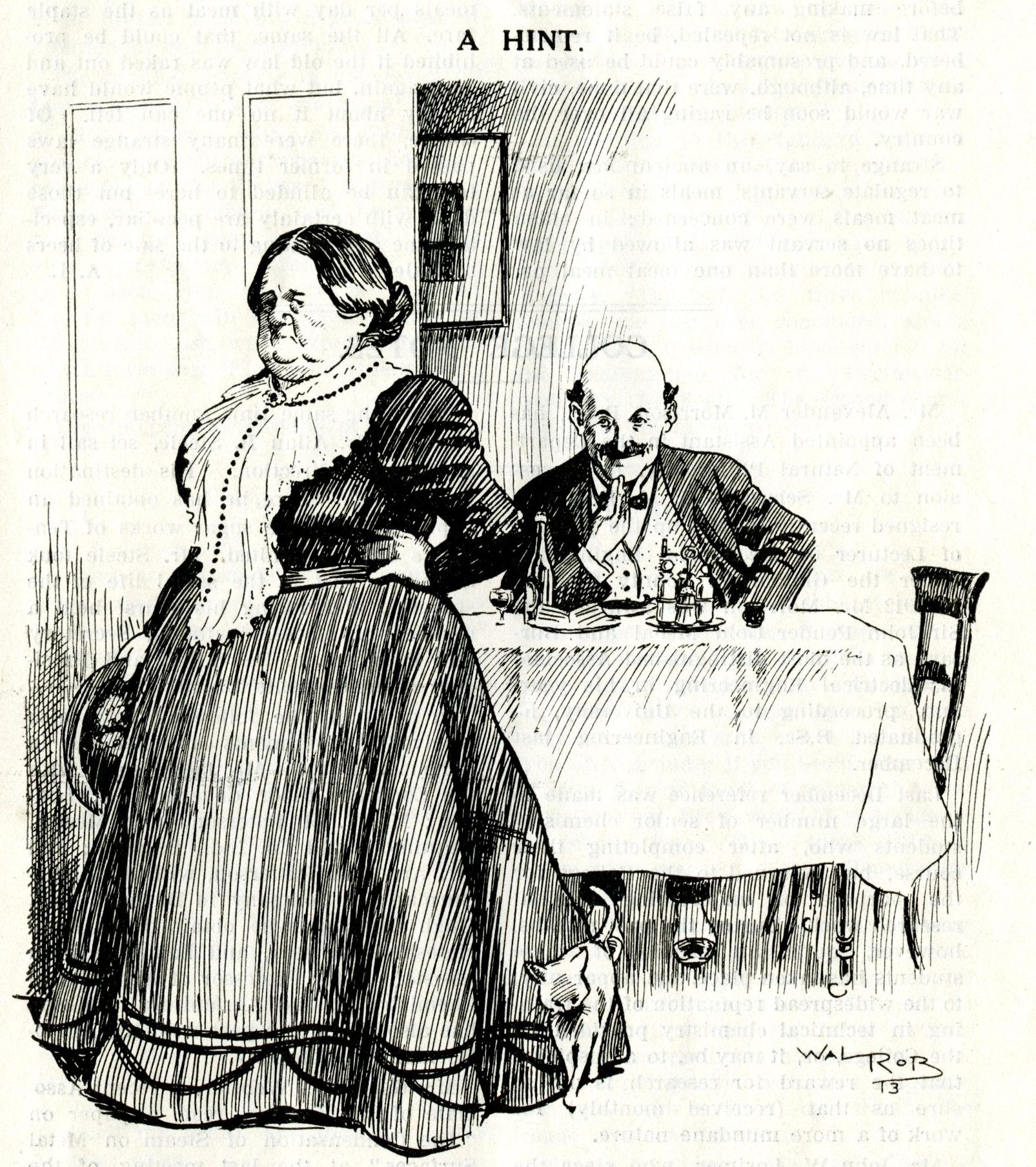 Cartoon from student magazine: landlady and lodger