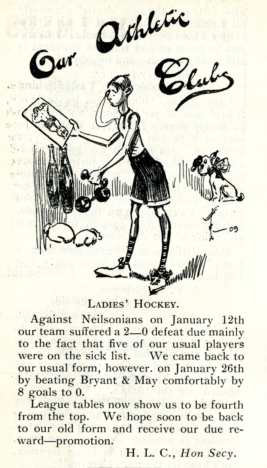 Section of magazine about the Ladies Hockey team results