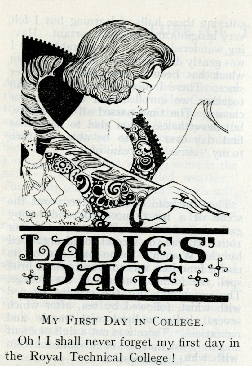 Illustration of a lady writing on a scroll with a quill. Underneath is the text 'Ladies Page' and the beginning of an article 'My First Day at College'.