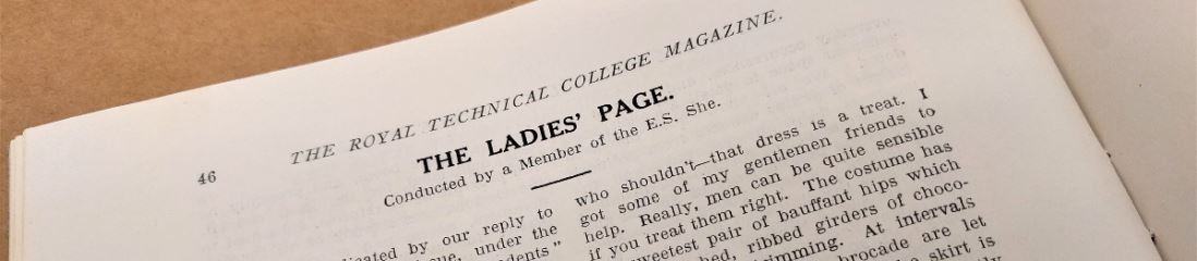 Image shows the top portion of the 'Ladies' Page' of the Royal Technical College Magazine.