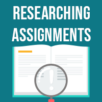 Researching assignments icon
