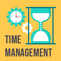 Time management icon of sand timer