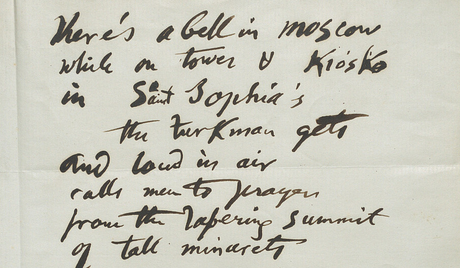 """Mss of the final verse of the poem """"The Bells of Shandon"""" by Frank Mahony, alias Father Prout"""