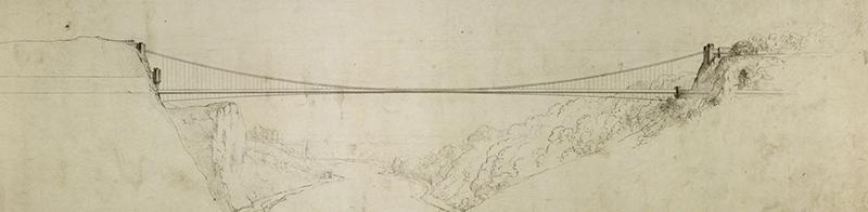 Brunel's drawing of Clifton Suspension Bridge