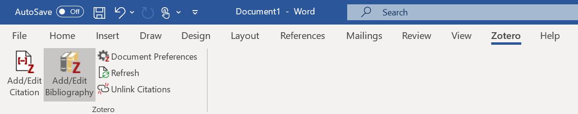 Add, edit bibliography word image