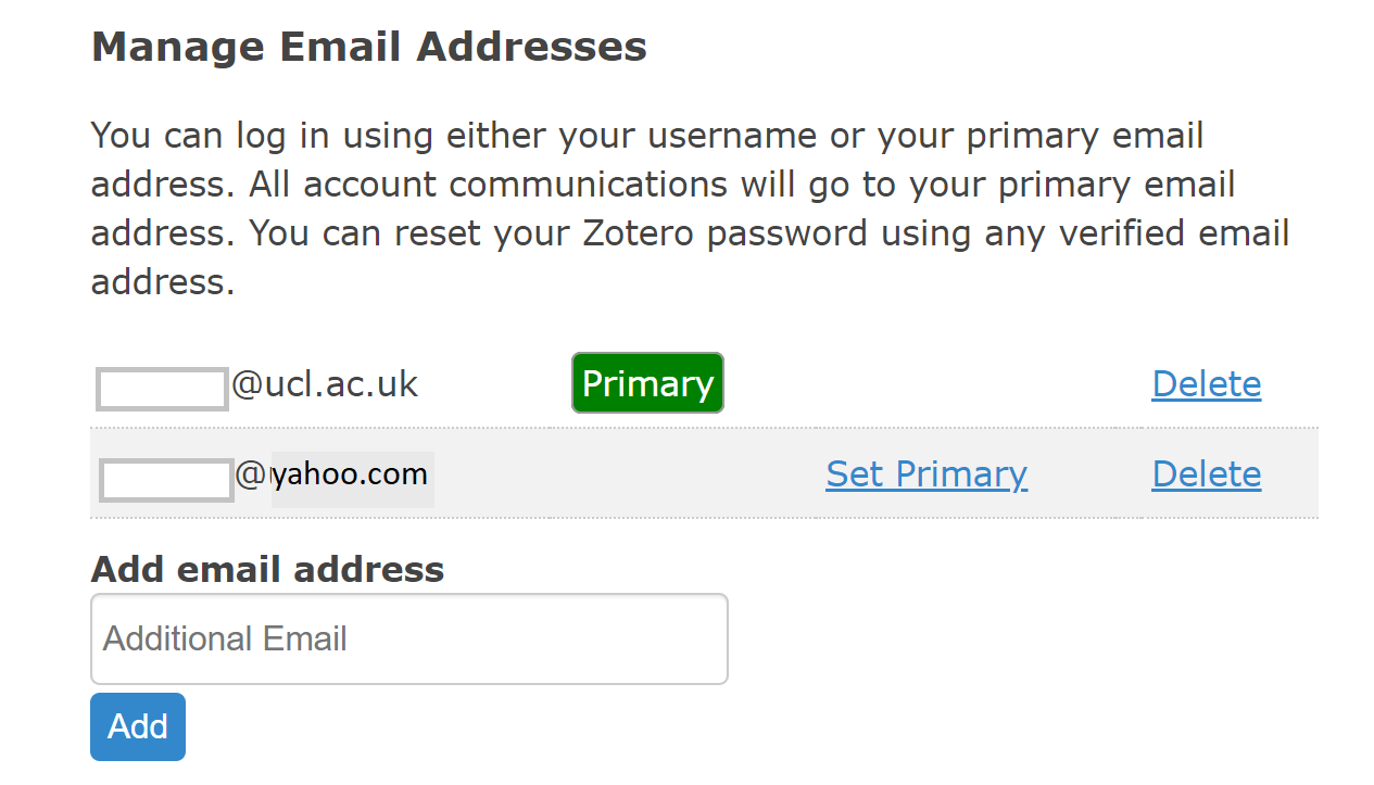 Manage email addresses page screenshot