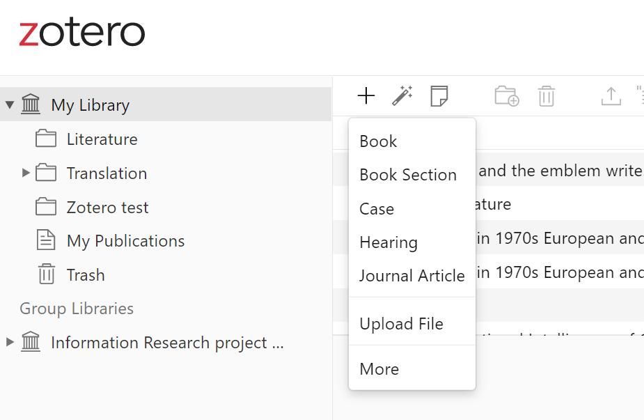 Zotero web new reference screenshot