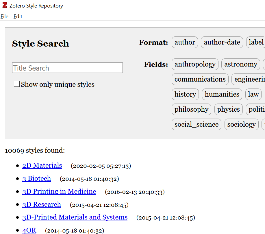 Citation styles repository cropped screenshot