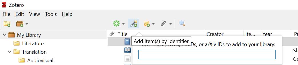 Zotero desktop identifier screenshot