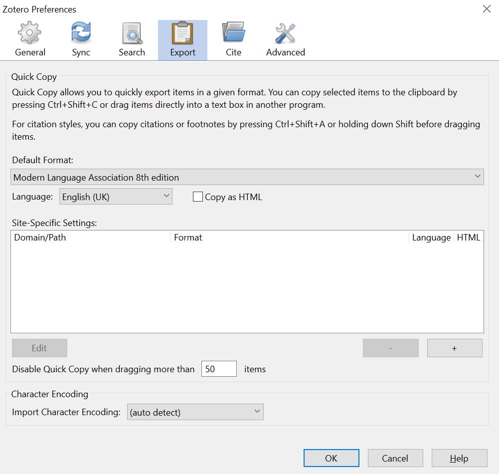 Desktop preferences export screenshot