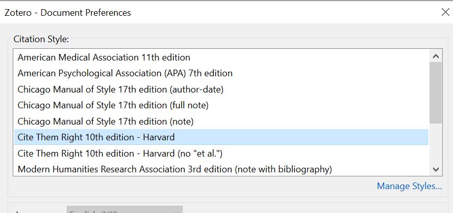 Document preferences citation styles screenshot
