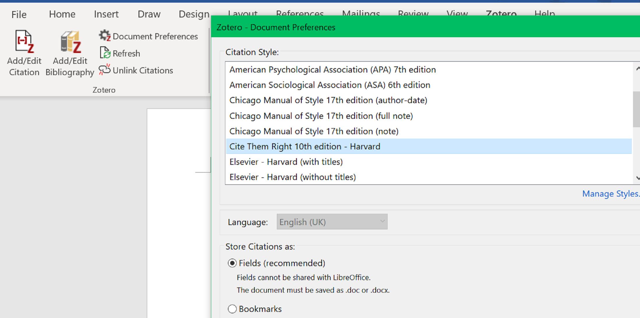Document preferences box screenshot